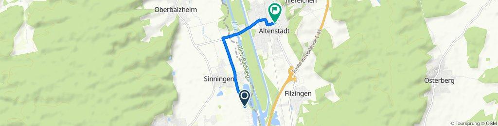 Werte 12, Kirchberg an der Iller nach Schillerstraße 2, Altenstadt