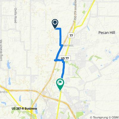 1520 E Highland Rd, Waxahachie to 1635 N US Highway 77, Waxahachie