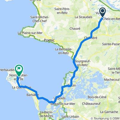 De 2bis Route de Sainte-Pazanne, Rouans à 1A Rue du Cheminet, Noirmoutier-en-l'Île