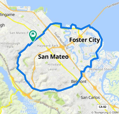 344 Fairfax Ave, San Mateo to 351 Fairfax Ave, San Mateo