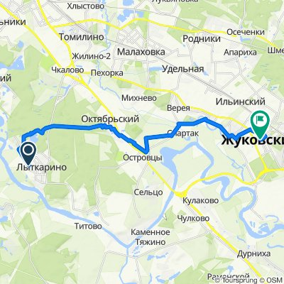 От Колхозная улица, 4к2, Лыткарино до улица Фрунзе, Жуковский