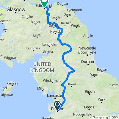 Preston to Edinburgh - 241 miles 13400ft