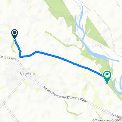 Da Via delle Sorgenti 51, Maserada sul Piave a Via dei Casoni 34, Breda di Piave