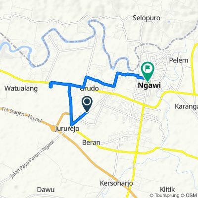 Jalan Siliwangi 10, Kecamatan Ngawi to Jalan Merdeka, Kecamatan Ngawi