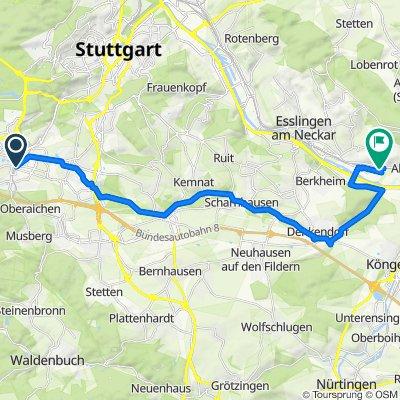 Körschtal ab Vaih üb Kloster Denkendf bis Altbach 28Km 90Hm auf 290Hm ab