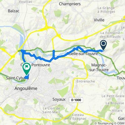 De Rue de Puyguillen 629, Ruelle-sur-Touvre à Rue de Bourgines 47, Angoulême