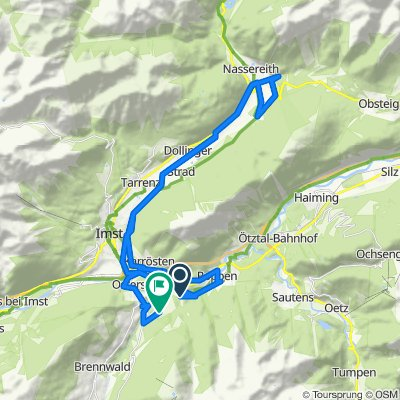 Wald-Waldele-Imst-Nassereith-Dornmitz  Retour über Dornmitz-Nassereith-Imst-Karrösten-Karres-Roppen-Imst-Arzl -Wald
