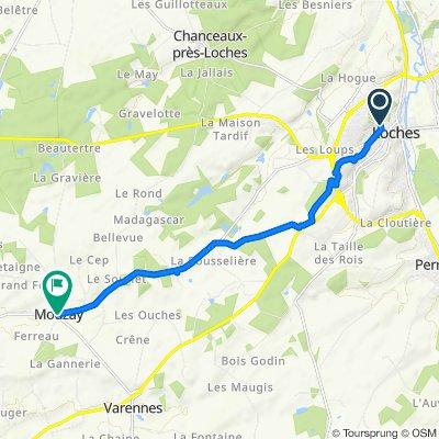 De 40bis Rue Bourdillet, Loches à 2 Place de la Mairie, Mouzay