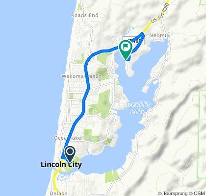 1452 NE Sixth Dr, Lincoln City to 3400–3498 NE 40th Ct, Lincoln City