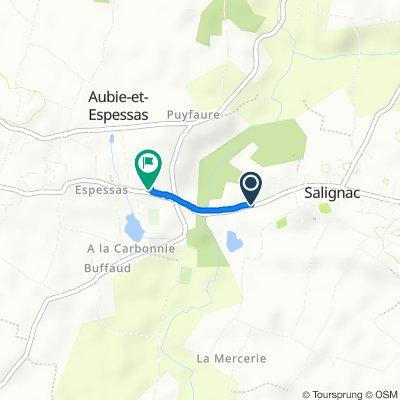 De 19 Avenue de la République, Salignac à 107 Rue d'Espessas, Aubie-et-Espessas