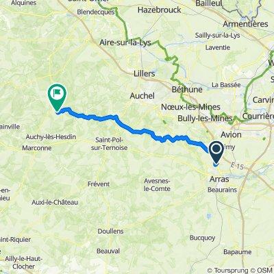 Itinéraire de Écurie à Azincourt