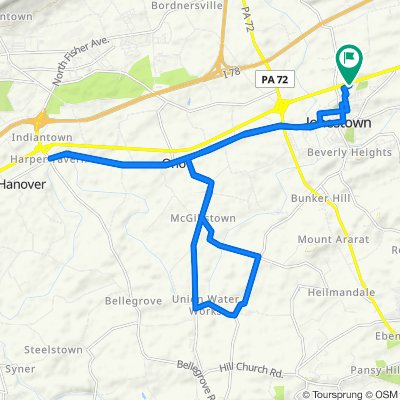 Route from Lighthouse Drive 123, Jonestown