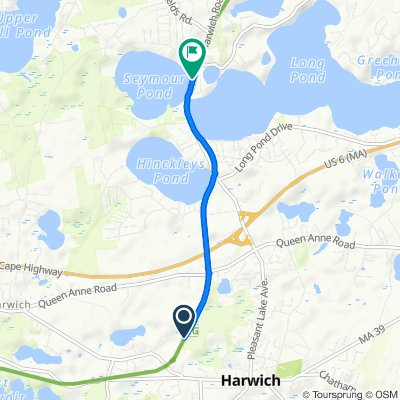 Route to 1 Lake Shore Dr, Harwich