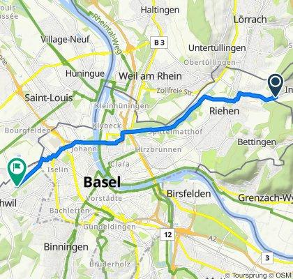 Möndenweg 64A, Inzlingen to Hegenheimermattweg 100, Allschwil