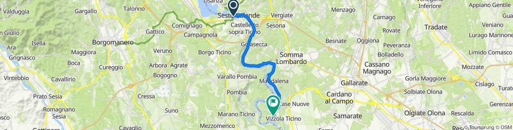 Da Via Remo Barbieri, Sesto Calende a Via Ponte Canale, Vizzola Ticino