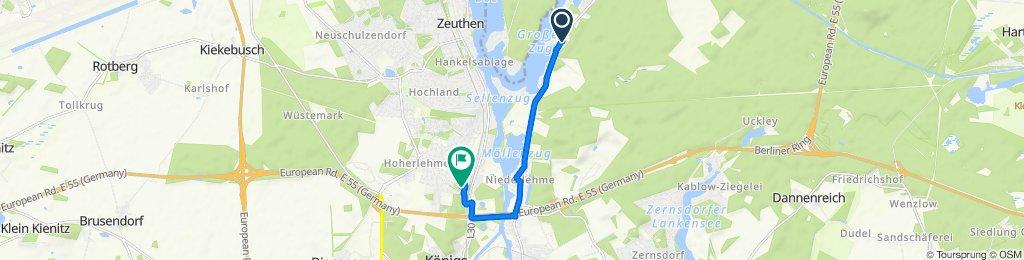 От Wernsdorfer Straße 95B, Кёнигс-Вустерхаузен до Eichstraße 3, Вильдау