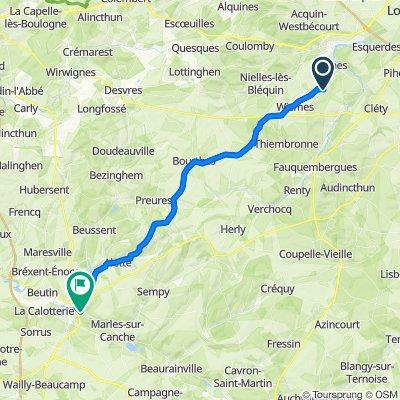 Route d'Elnes, Wavrans-sur-l'Aa to 12 Rue de Montreuil, Neuville-sous-Montreuil