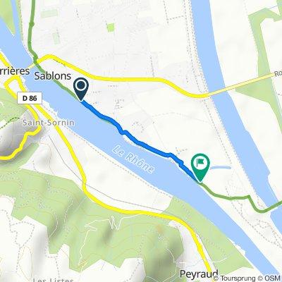 Itinéraire à partir de 36 Quai du Rhône, Sablons