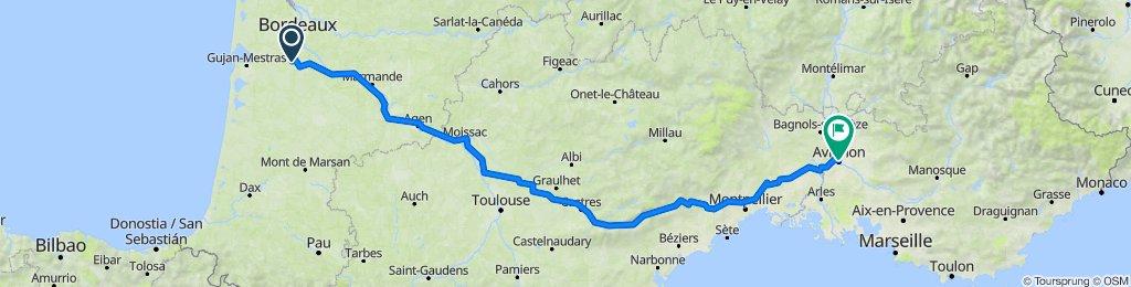 De D108, Saucats à 15 Place de l'Horloge, Avignon