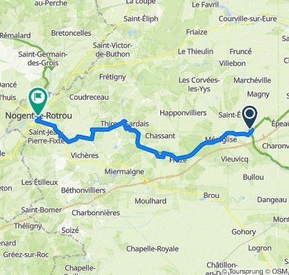 De Place du 11 Novembre, Illiers-Combray à 49 Rue Villette Gâté, Nogent-le-Rotrou
