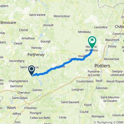 Route to 29 Rue Alphonse Plault, Neuville de Poitou