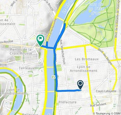 De 79 Cours Lafayette, Lyon à 5 Rue des Fantasques, Lyon
