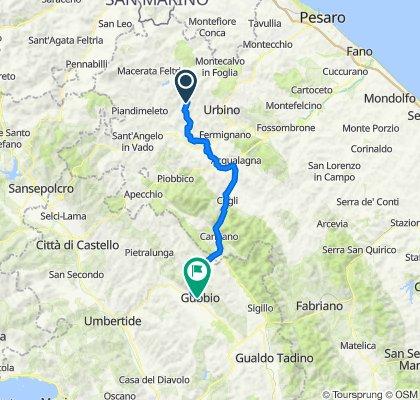 Da S.P. Ca' La Lagia 8 (Casalini), Urbino a Via Bruno Buozzi 18, Gubbio