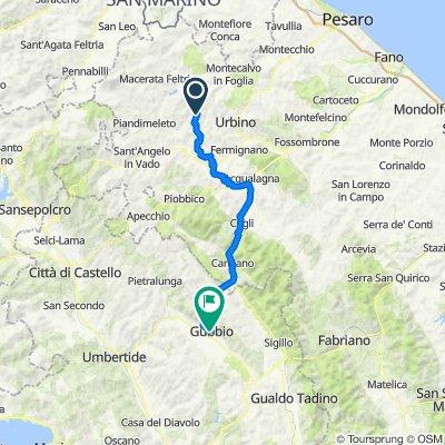 Da S.P. Ca' La Lagia 8 (Casalini), Urbino a Via Repubblica 17c, Gubbio