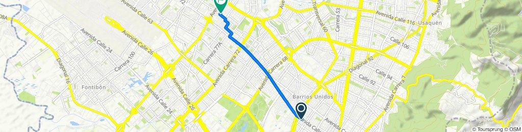 De Calle 68 29-26, Bogotá a Carrera 83a 75-50, Bogotá