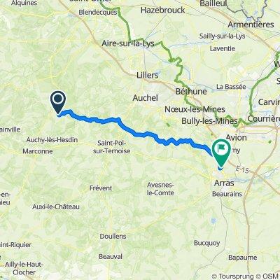 Itinéraire de Azincourt à Ecurie