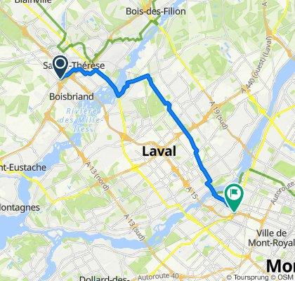 De Rue d'Annemasse 2505, Boisbriand à Place de l'Acadie 10650, Montréal