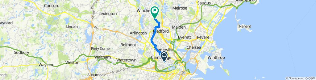 57 Elm St, Cambridge to 257–273 S Border Rd, Medford