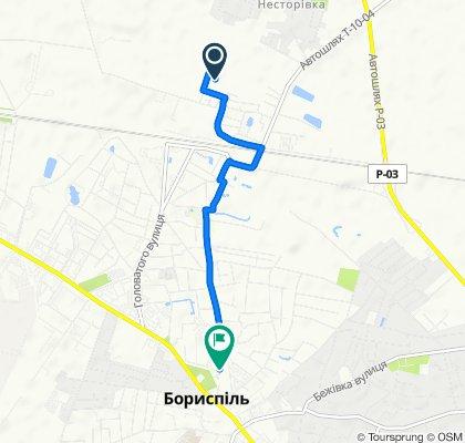 От вулиця Великопромінська 27, Бориспіль до вулиця Митрополита Шептицького 9, Бориспіль