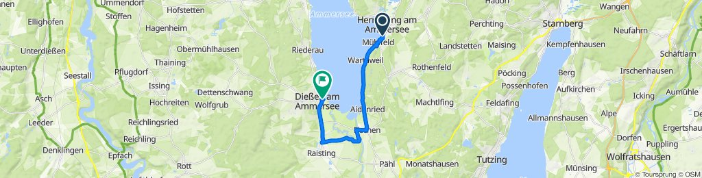 Route von Summerstraße 34, Herrsching am Ammersee