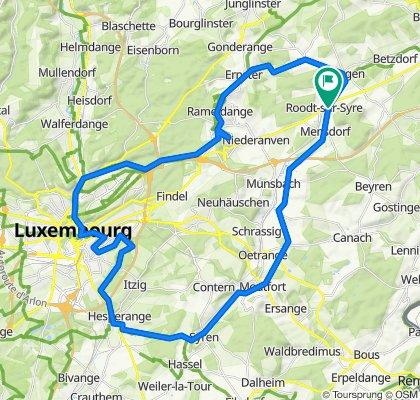 Roodt/Syr-Ernster-Kirchberg-Letzeburg/Stad iwer Hesper-Alzingen-Moutfort-Mensder zreck.