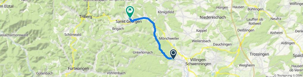 Sebastian-Kneipp-Straße 5, Villingen-Schwenningen nach Am Sommerrain 43, Sankt Georgen im Schwarzwald