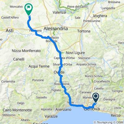 Da Salita alla Costa di Sant'Eusebio 26, Genova a Via Vignazzo 2, Altavilla Monferrato