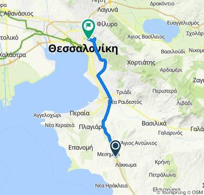 Αυτοκινητόδρομος Θεσσαλονίκης Νέων Μουδανιών to Στυλιανού Ιακωβίδη 16, Πολίχνη Θεσσαλονίκης