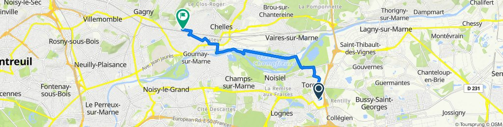 De 15 Rue des Coutures, Torcy à 11ter Avenue de la Pépinière, Gagny