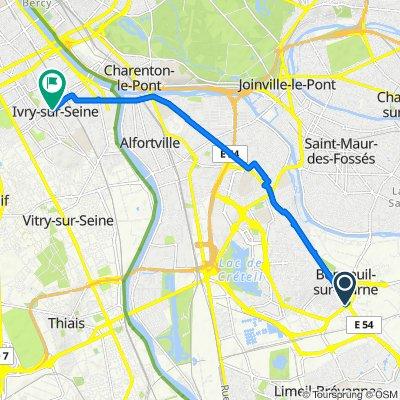 De 8 Carrefour du Général de Gaulle, Bonneuil-sur-Marne à 78 Avenue Georges Gosnat, Ivry-sur-Seine