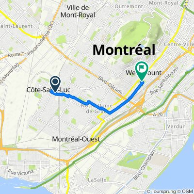 Route from 5705 Av Rembrant, Côte-Saint-Luc