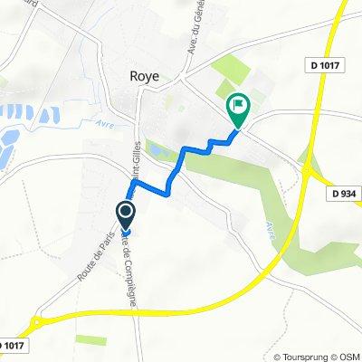 De 131 Route de Compiègne, Roye à 1 Rue de l'Avre, Roye