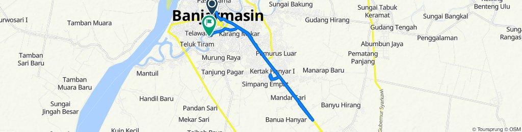 Jalan Suprapto 23, Kecamatan Banjarmasin Tengah to Jalan Rantauan Darat 2, Kecamatan Banjarmasin Selatan