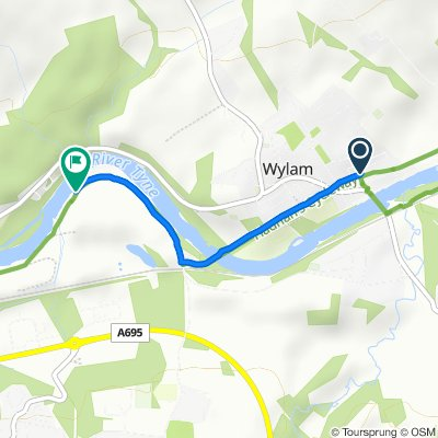 Route from The Granary, Rowe Lane, Wylam