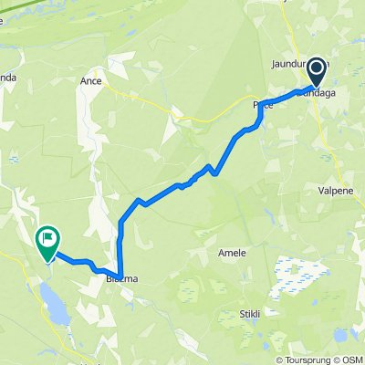 Route from Pils iela, Dundaga