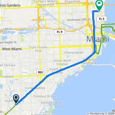 5995 Sunset Dr, South Miami to 143–153 NE 29th St, Miami