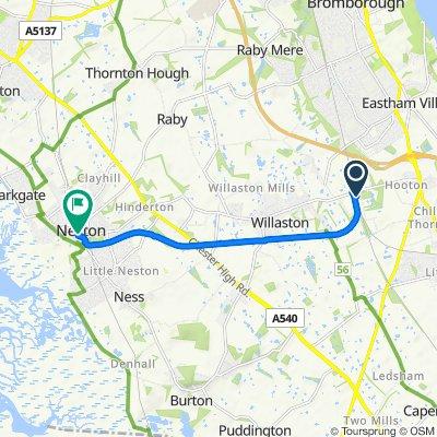 Waterworks Lane, Ellesmere Port to 1–2 Parkgate Road, Neston