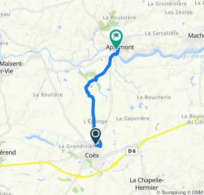 De 6 Chemin de la Procession, Coëx à Place du Château, Apremont