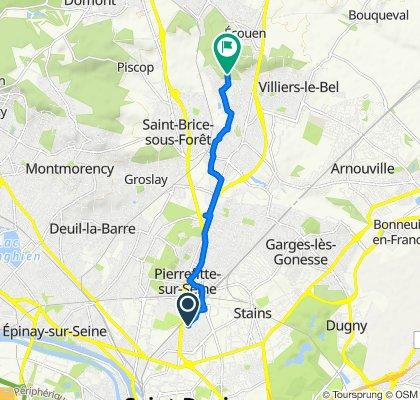 De Rue Vincent Van Gogh 2, Pierrefitte-sur-Seine à Chemin des Mobillets 4, Sarcelles