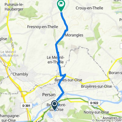 De Rue Léon Godin, Beaumont-sur-Oise à D929, Neuilly-en-Thelle